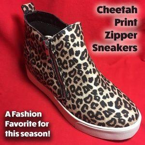 Cheetah Print Zipper Sneakers